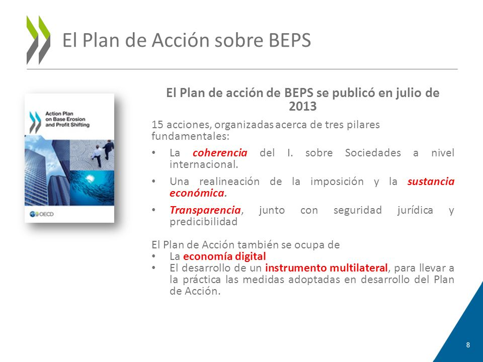 El Plan de Acción sobre BEPS El Plan de acción de BEPS se publicó en julio de 2013 15 acciones, organizadas acerca de tres pilares fundamentales: La c