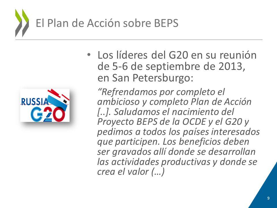 El Plan de Acción sobre BEPS Los líderes del G20 en su reunión de 5-6 de septiembre de 2013, en San Petersburgo: Refrendamos por completo el ambicioso