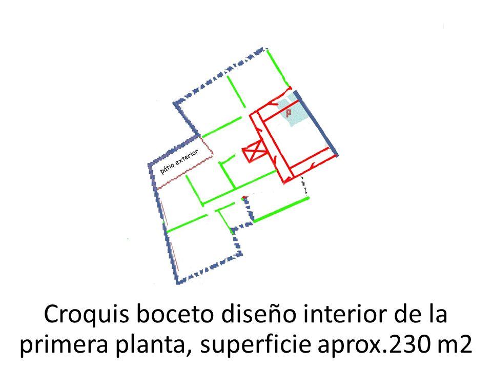 Croquis boceto diseño interior de la primera planta, superficie aprox.230 m2