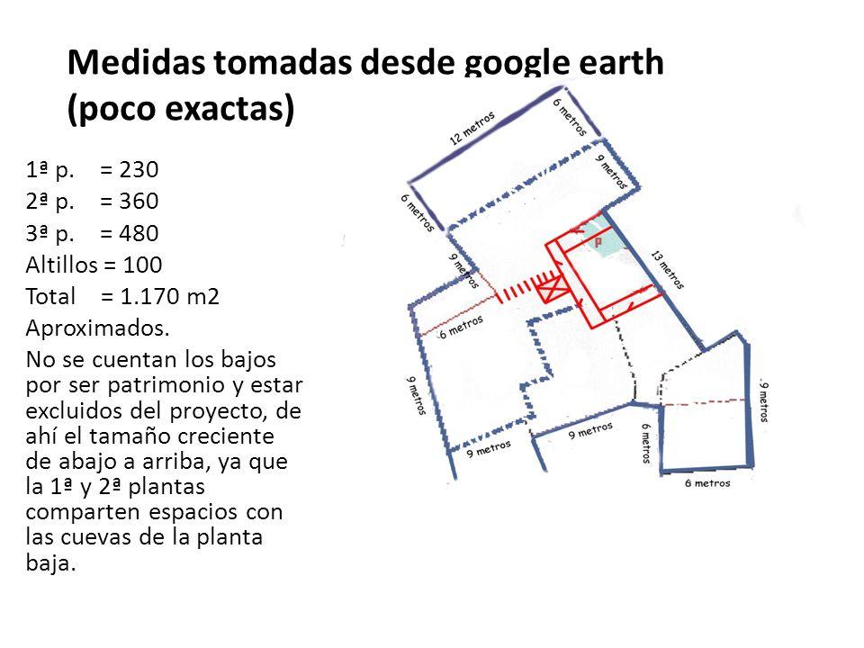 Medidas tomadas desde google earth (poco exactas) 1ª p. = 230 2ª p. = 360 3ª p. = 480 Altillos = 100 Total = 1.170 m2 Aproximados. No se cuentan los b