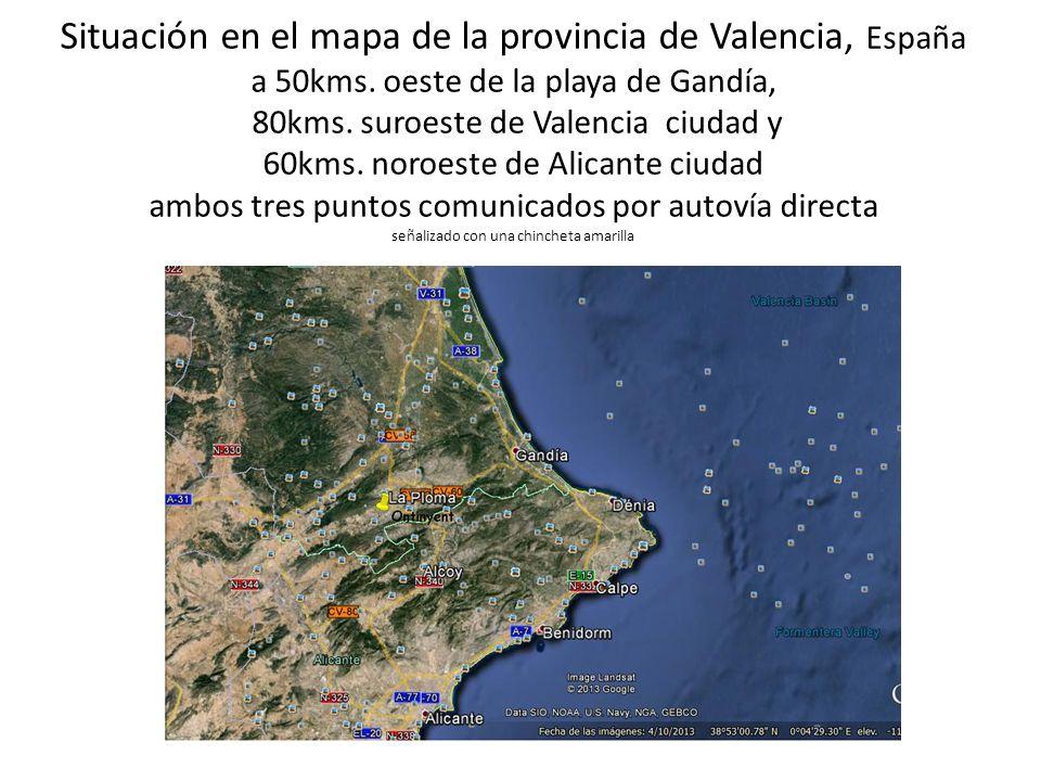 Situación en el mapa de la provincia de Valencia, España a 50kms. oeste de la playa de Gandía, 80kms. suroeste de Valencia ciudad y 60kms. noroeste de