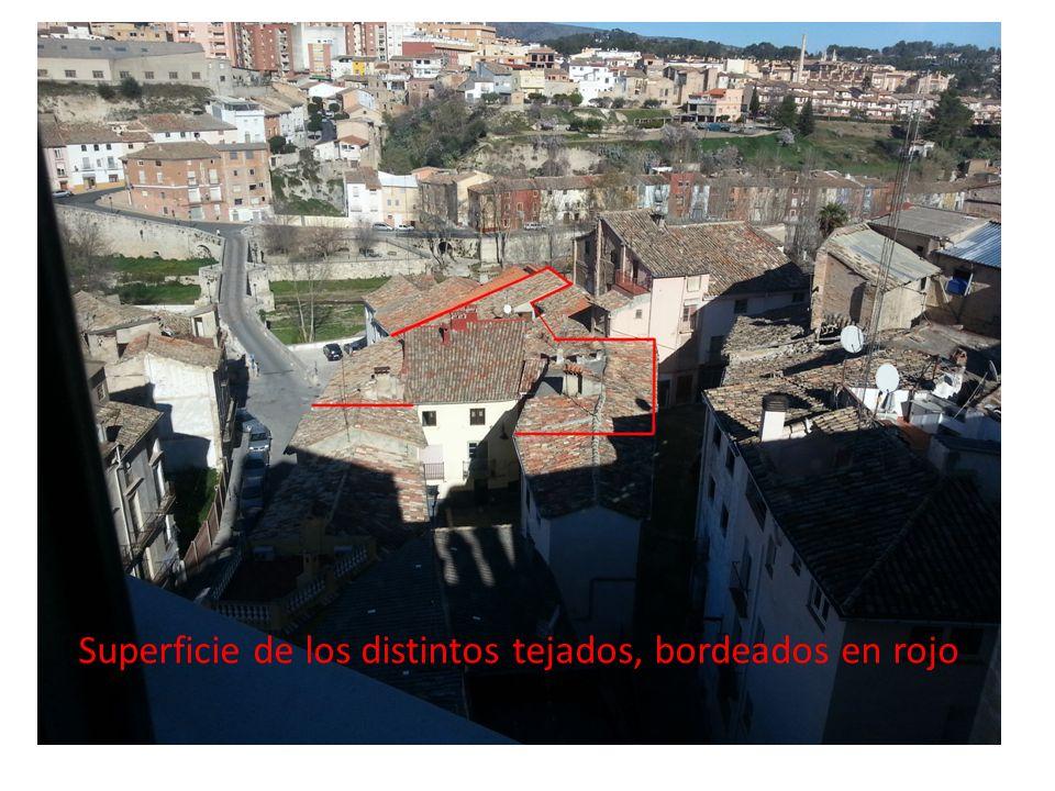 Superficie tejados Superficie de los distintos tejados, bordeados en rojo