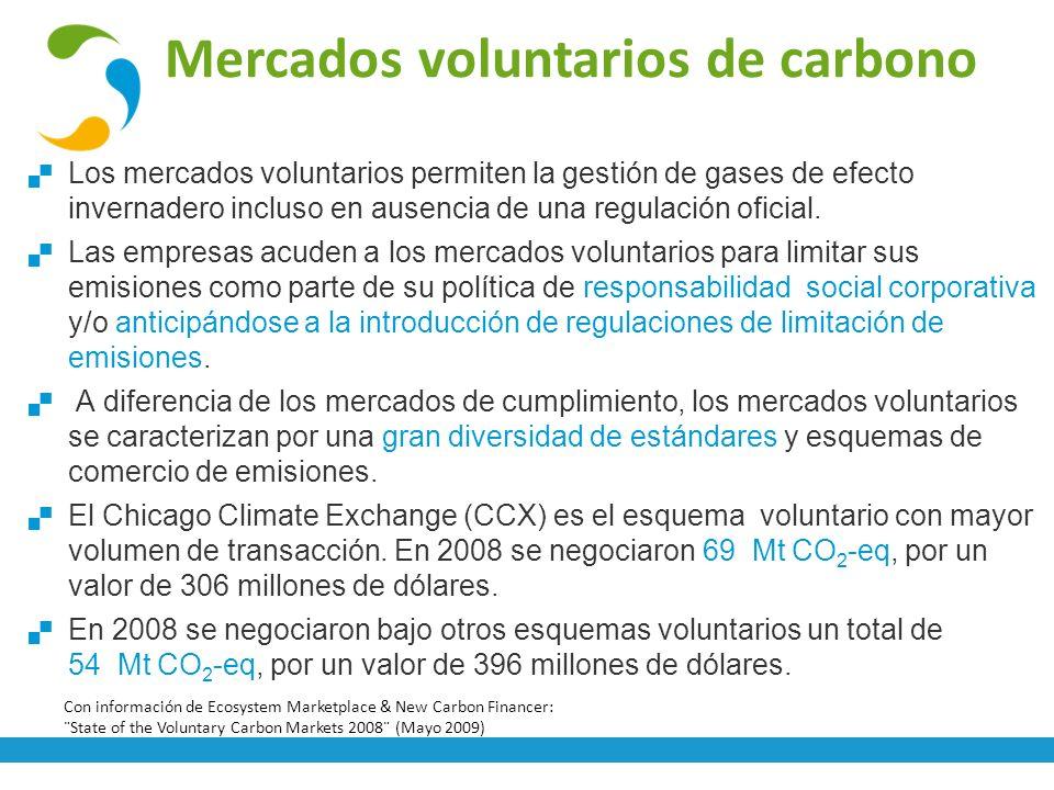 Mercados voluntarios de carbono Los mercados voluntarios permiten la gestión de gases de efecto invernadero incluso en ausencia de una regulación ofic