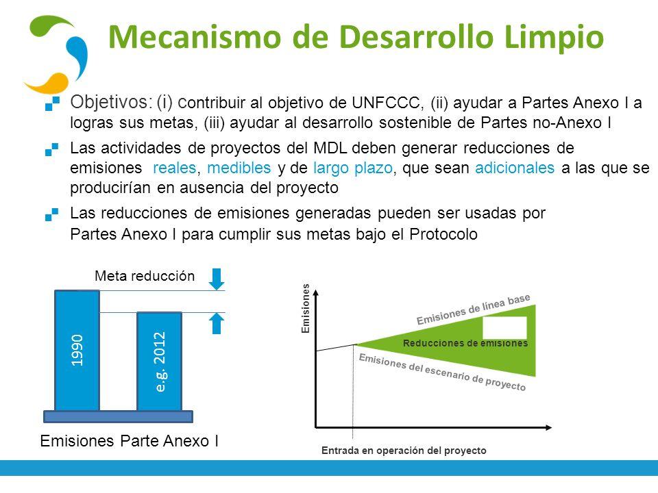 Mecanismo de Desarrollo Limpio Objetivos: (i) c ontribuir al objetivo de UNFCCC, (ii) ayudar a Partes Anexo I a logras sus metas, (iii) ayudar al desa