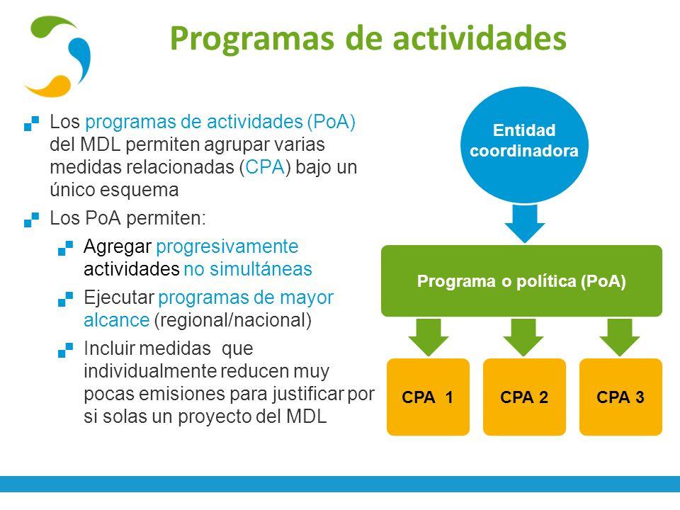 Programas de actividades Los programas de actividades (PoA) del MDL permiten agrupar varias medidas relacionadas (CPA) bajo un único esquema Los PoA p