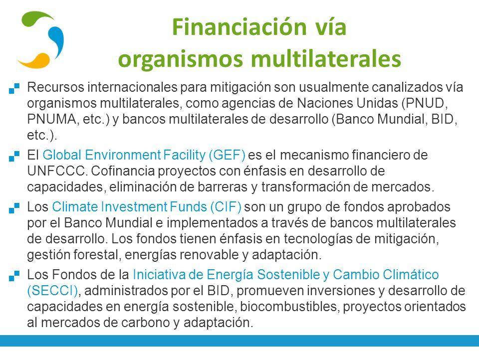 Financiación vía organismos multilaterales Recursos internacionales para mitigación son usualmente canalizados vía organismos multilaterales, como age