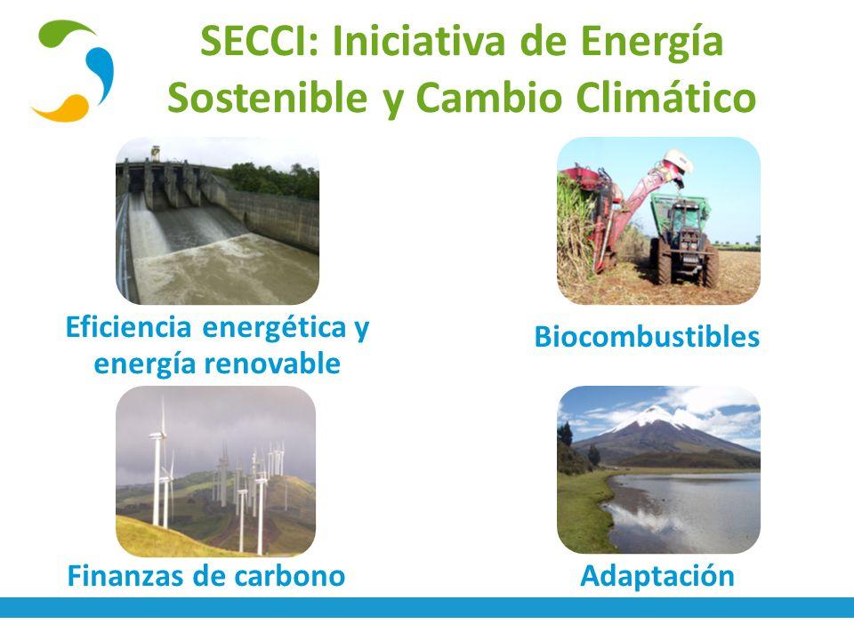 SECCI: Iniciativa de Energía Sostenible y Cambio Climático Adaptación Biocombustibles Eficiencia energética y energía renovable Finanzas de carbono