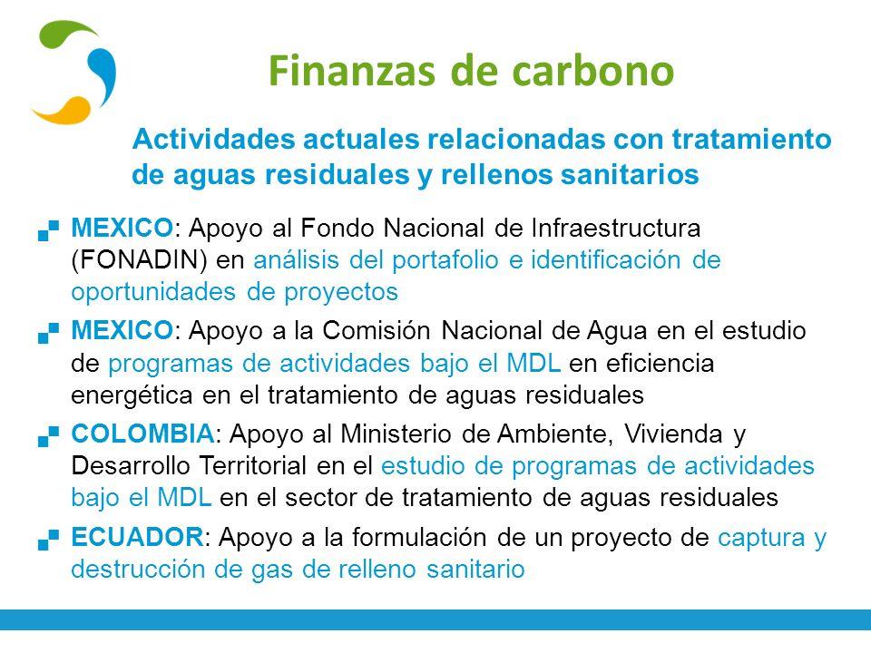Finanzas de carbono Actividades actuales relacionadas con tratamiento de aguas residuales y rellenos sanitarios MEXICO: Apoyo al Fondo Nacional de Inf