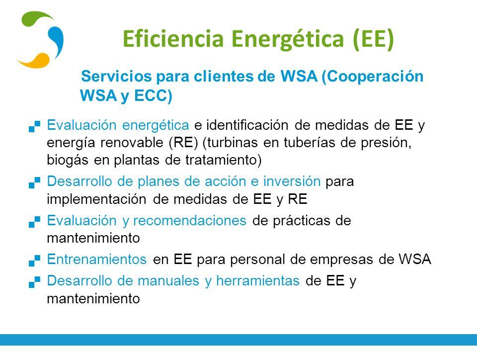 Eficiencia Energética (EE) Servicios para clientes de WSA (Cooperación WSA y ECC) Evaluación energética e identificación de medidas de EE y energía re