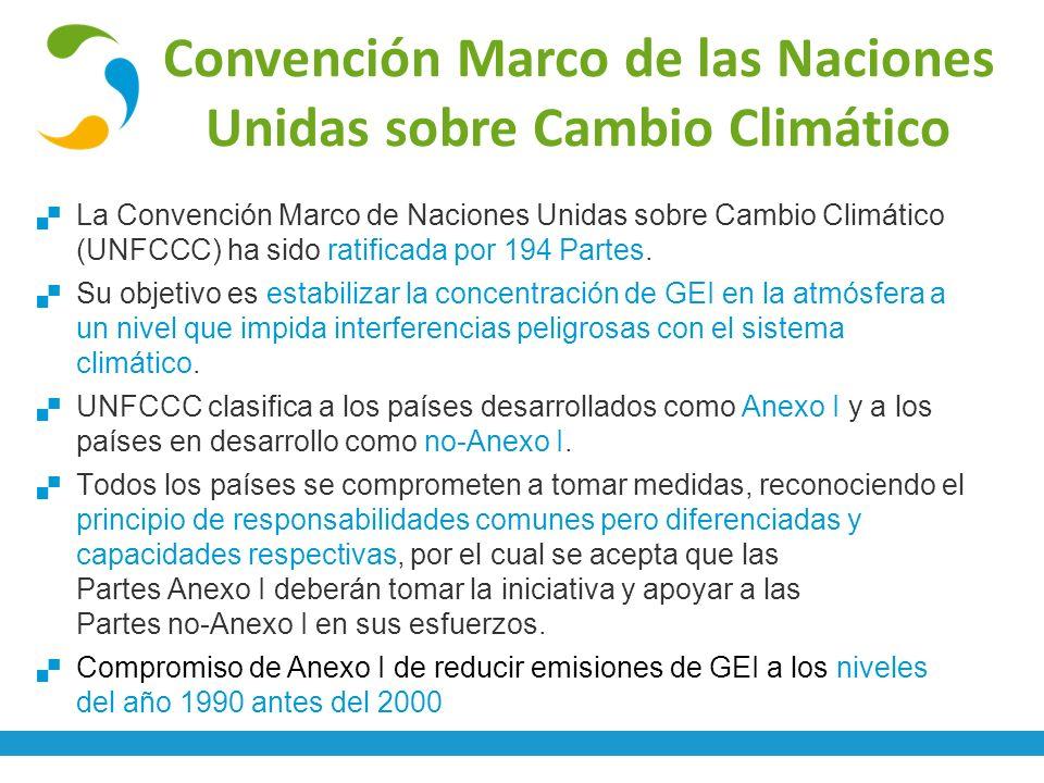 Convención Marco de las Naciones Unidas sobre Cambio Climático La Convención Marco de Naciones Unidas sobre Cambio Climático (UNFCCC) ha sido ratifica