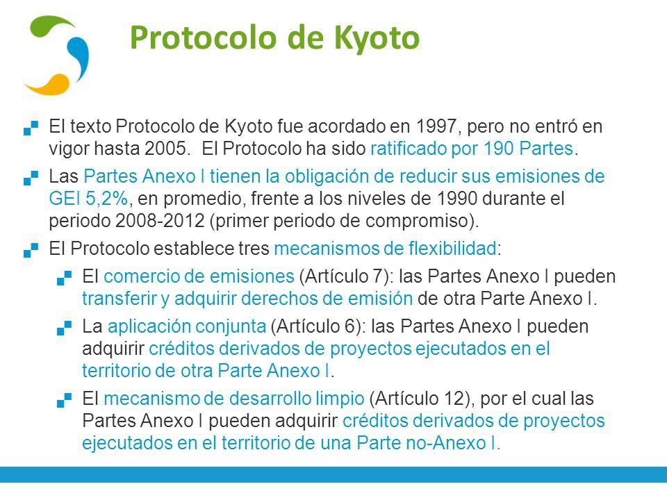 Protocolo de Kyoto El texto Protocolo de Kyoto fue acordado en 1997, pero no entró en vigor hasta 2005. El Protocolo ha sido ratificado por 190 Partes
