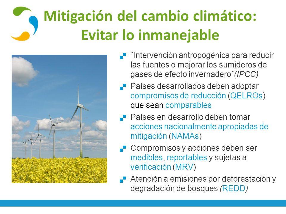 Mitigación del cambio climático: Evitar lo inmanejable ¨Intervención antropogénica para reducir las fuentes o mejorar los sumideros de gases de efecto