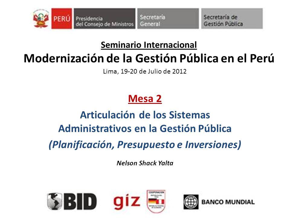 Seminario Internacional Modernización de la Gestión Pública en el Perú Mesa 2 Articulación de los Sistemas Administrativos en la Gestión Pública (Plan