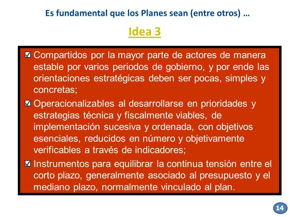 14 Es fundamental que los Planes sean (entre otros) … Compartidos por la mayor parte de actores de manera estable por varios periodos de gobierno, y p