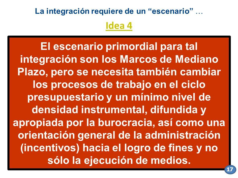 El escenario primordial para tal integración son los Marcos de Mediano Plazo, pero se necesita también cambiar los procesos de trabajo en el ciclo pre