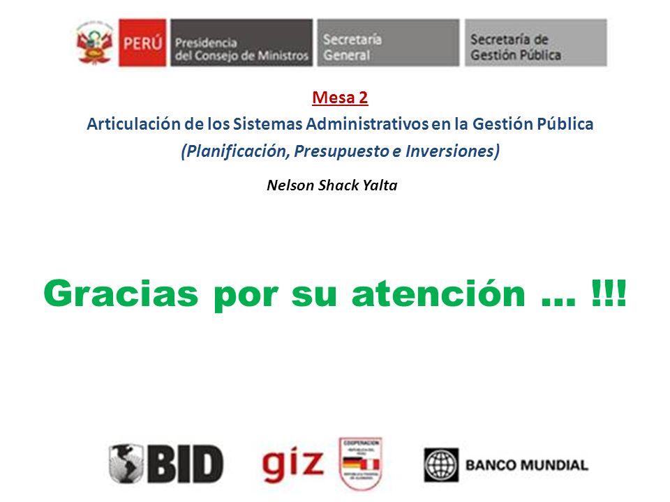 Mesa 2 Articulación de los Sistemas Administrativos en la Gestión Pública (Planificación, Presupuesto e Inversiones) Nelson Shack Yalta Gracias por su