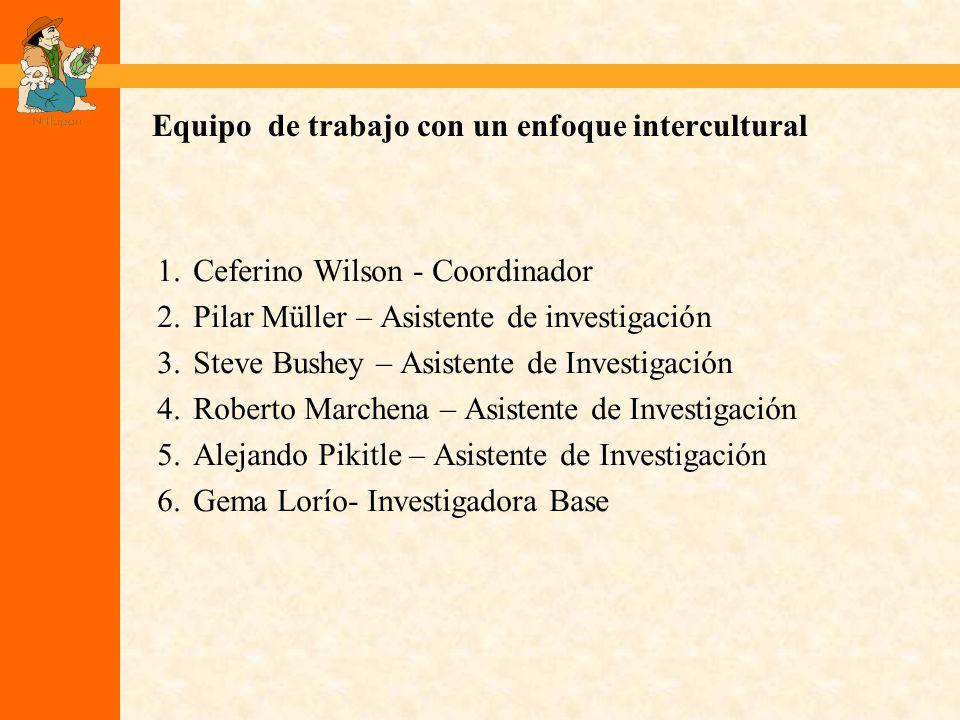 Equipo de trabajo con un enfoque intercultural 1.Ceferino Wilson - Coordinador 2.Pilar Müller – Asistente de investigación 3.Steve Bushey – Asistente