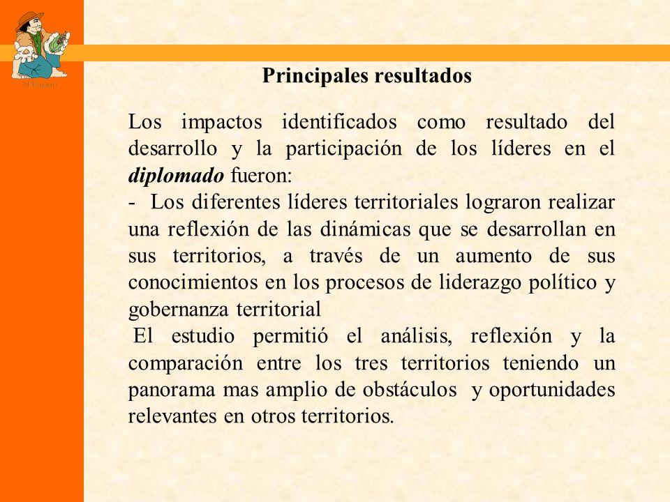 Principales resultados Los impactos identificados como resultado del desarrollo y la participación de los líderes en el diplomado fueron: - Los difere