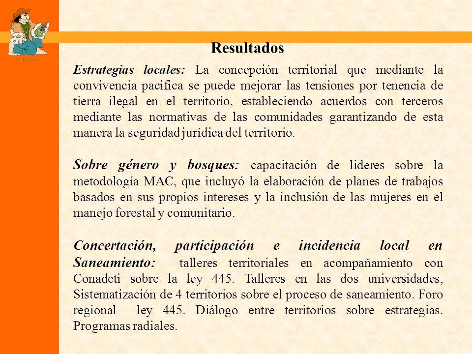 Resultados Estrategias locales: La concepción territorial que mediante la convivencia pacifica se puede mejorar las tensiones por tenencia de tierra i