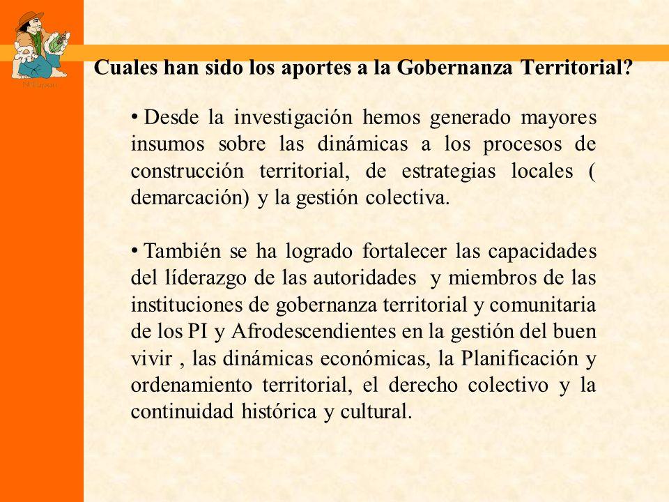 Cuales han sido los aportes a la Gobernanza Territorial.