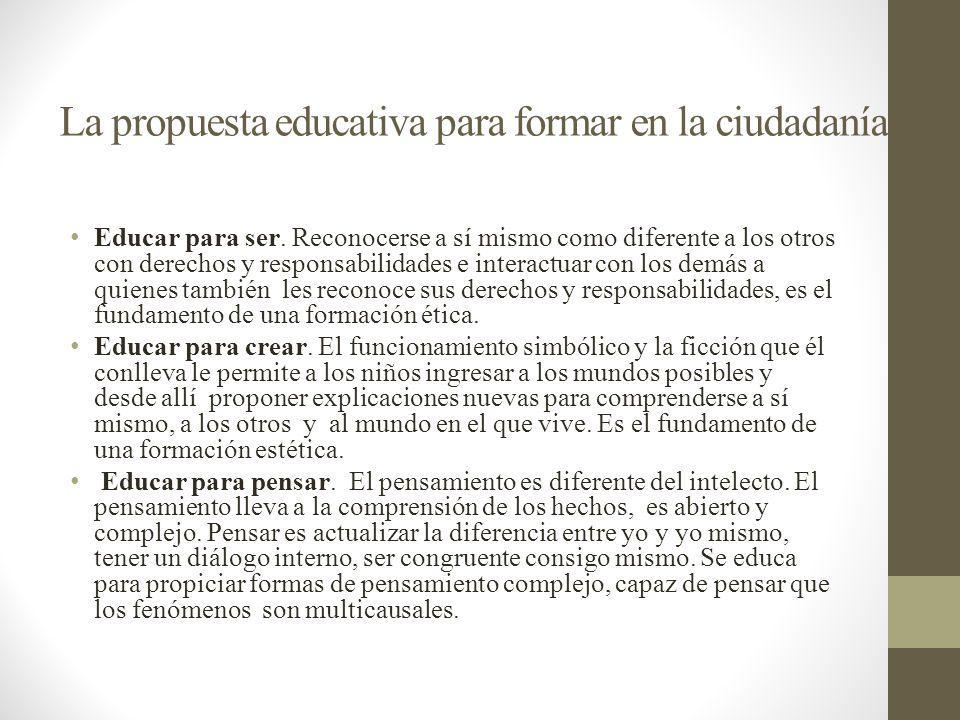 La propuesta educativa para formar en la ciudadanía Educar para ser. Reconocerse a sí mismo como diferente a los otros con derechos y responsabilidade