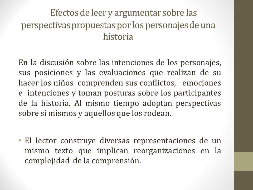 Efectos de leer y argumentar sobre las perspectivas propuestas por los personajes de una historia En la discusión sobre las intenciones de los persona