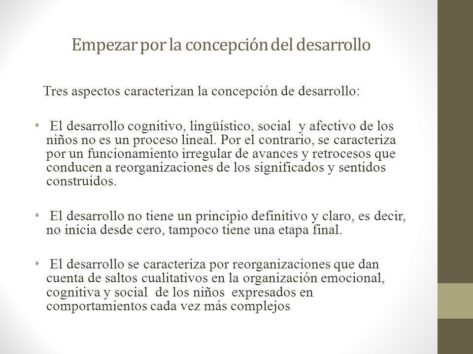 Empezar por la concepción del desarrollo Tres aspectos caracterizan la concepción de desarrollo: El desarrollo cognitivo, lingüístico, social y afecti