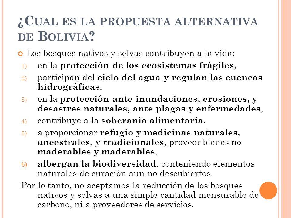 ¿C UAL ES LA PROPUESTA ALTERNATIVA DE B OLIVIA .