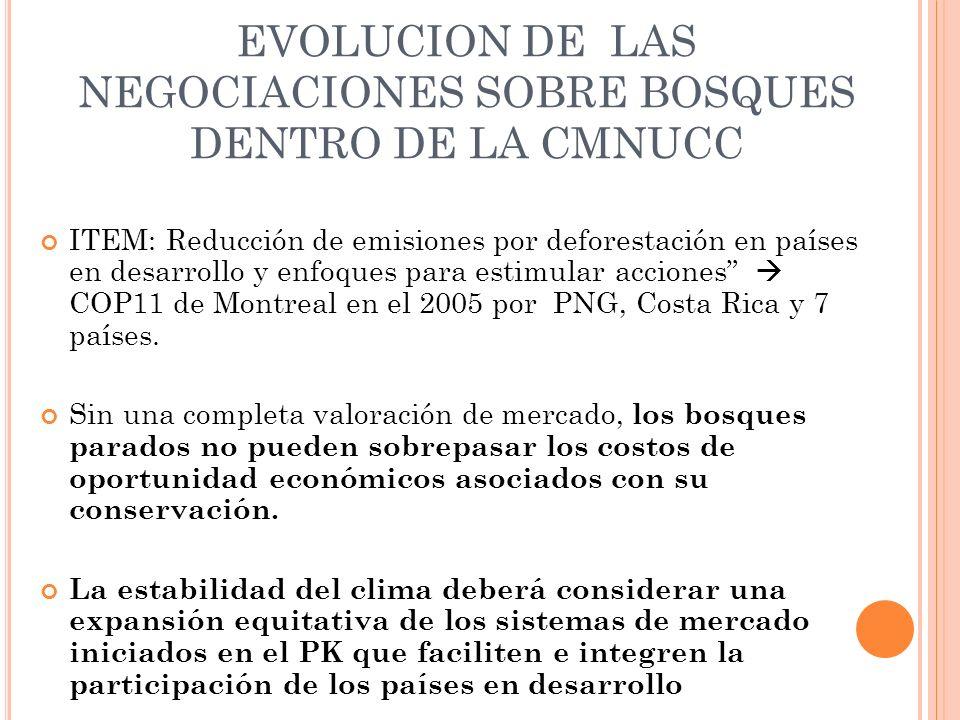EVOLUCION DE LAS NEGOCIACIONES SOBRE BOSQUES DENTRO DE LA CMNUCC ITEM: Reducción de emisiones por deforestación en países en desarrollo y enfoques para estimular acciones COP11 de Montreal en el 2005 por PNG, Costa Rica y 7 países.