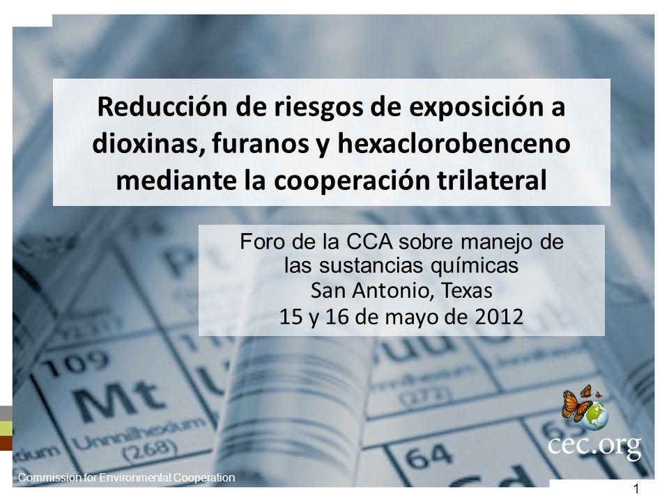1 Reducción de riesgos de exposición a dioxinas, furanos y hexaclorobenceno mediante la cooperación trilateral Foro de la CCA sobre manejo de las sust