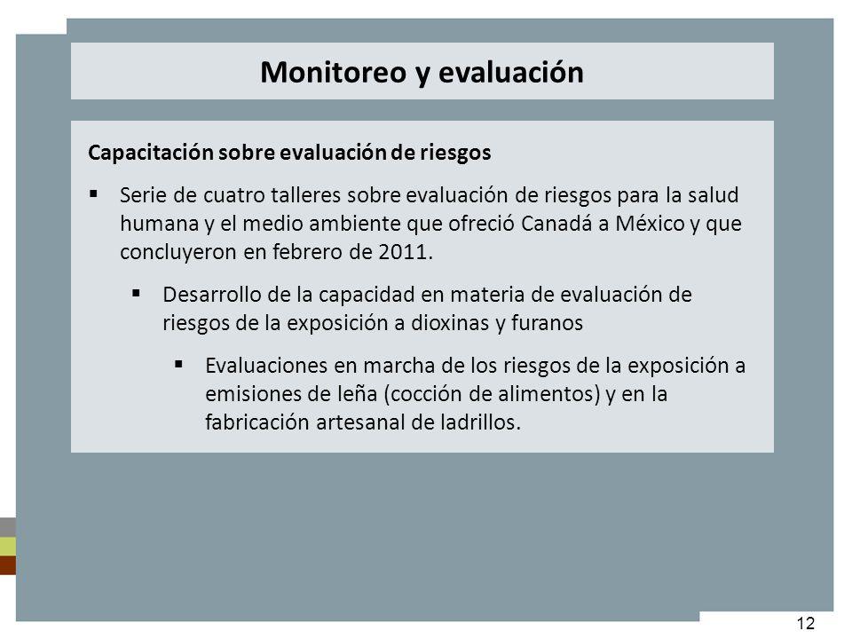 12 Capacitación sobre evaluación de riesgos Serie de cuatro talleres sobre evaluación de riesgos para la salud humana y el medio ambiente que ofreció