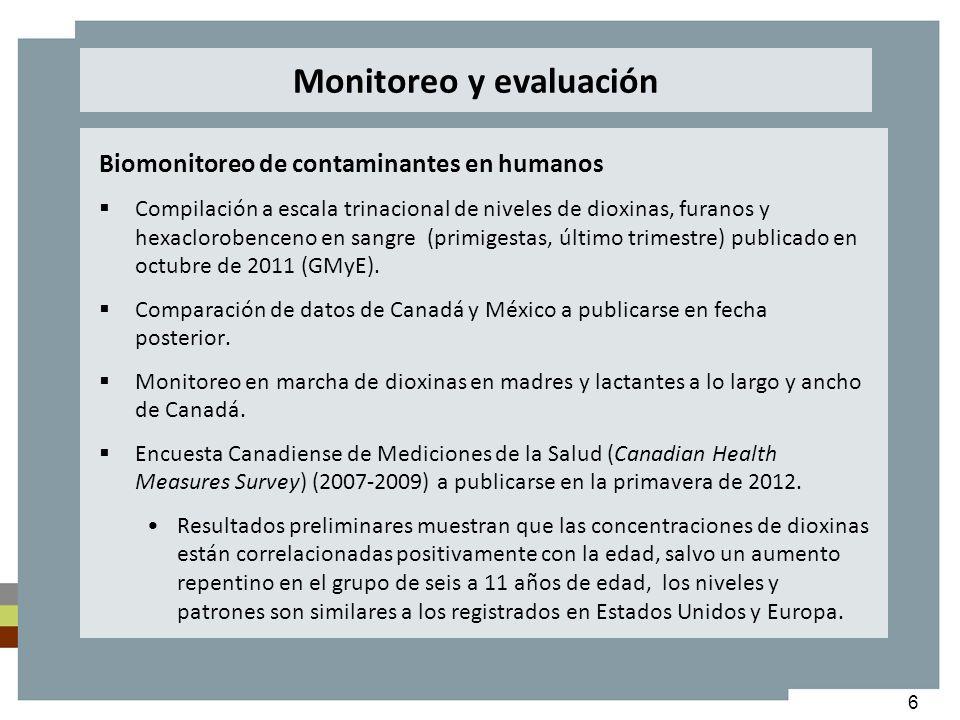 6 Biomonitoreo de contaminantes en humanos Compilación a escala trinacional de niveles de dioxinas, furanos y hexaclorobenceno en sangre (primigestas,