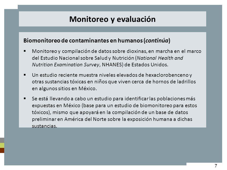 7 Biomonitoreo de contaminantes en humanos (continúa) Monitoreo y compilación de datos sobre dioxinas, en marcha en el marco del Estudio Nacional sobr