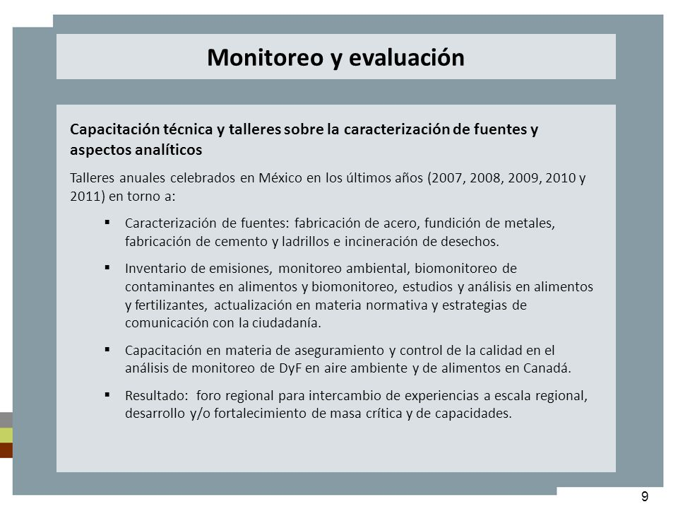 9 Capacitación técnica y talleres sobre la caracterización de fuentes y aspectos analíticos Talleres anuales celebrados en México en los últimos años