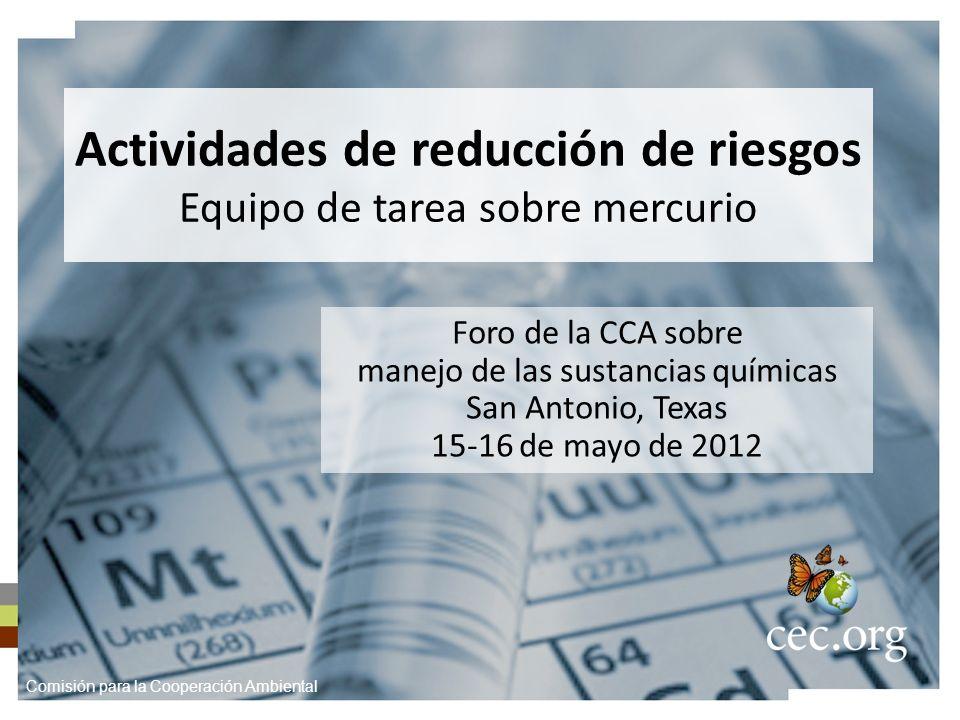 Actividades de reducción de riesgos Equipo de tarea sobre mercurio Foro de la CCA sobre manejo de las sustancias químicas San Antonio, Texas 15-16 de mayo de 2012 Comisión para la Cooperación Ambiental
