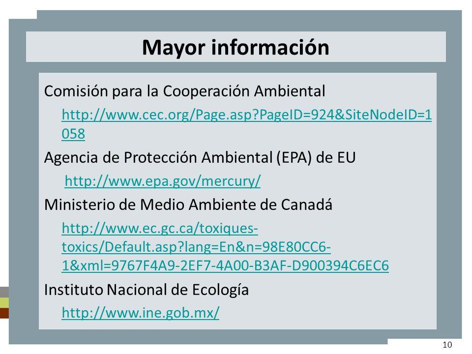 Mayor información Comisión para la Cooperación Ambiental http://www.cec.org/Page.asp PageID=924&SiteNodeID=1 058 Agencia de Protección Ambiental (EPA) de EU http://www.epa.gov/mercury/ Ministerio de Medio Ambiente de Canadá http://www.ec.gc.ca/toxiques- toxics/Default.asp lang=En&n=98E80CC6- 1&xml=9767F4A9-2EF7-4A00-B3AF-D900394C6EC6 Instituto Nacional de Ecología http://www.ine.gob.mx/ 10