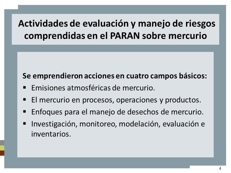 Actividades de evaluación y manejo de riesgos comprendidas en el PARAN sobre mercurio Se emprendieron acciones en cuatro campos básicos: Emisiones atmosféricas de mercurio.