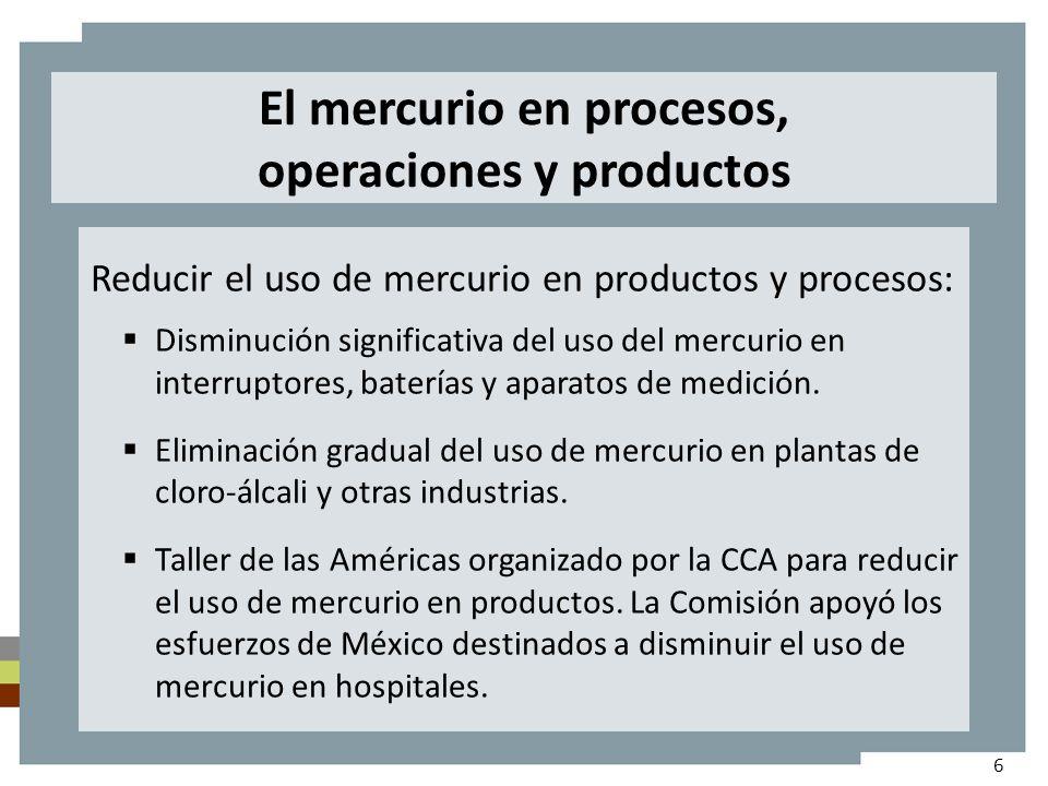 El mercurio en procesos, operaciones y productos Reducir el uso de mercurio en productos y procesos: Disminución significativa del uso del mercurio en interruptores, baterías y aparatos de medición.