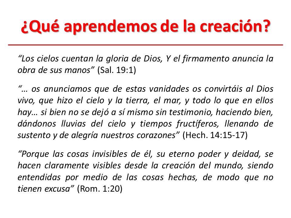 ¿Qué aprendemos de la creación? Los cielos cuentan la gloria de Dios, Y el firmamento anuncia la obra de sus manos (Sal. 19:1) … os anunciamos que de