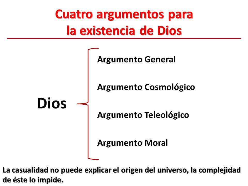 Cuatro argumentos para la existencia de Dios Argumento General Argumento Cosmológico Argumento Teleológico Argumento Moral Dios La casualidad no puede