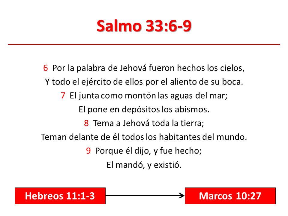 Salmo 33:6-9 6 Por la palabra de Jehová fueron hechos los cielos, Y todo el ejército de ellos por el aliento de su boca. 7 El junta como montón las ag