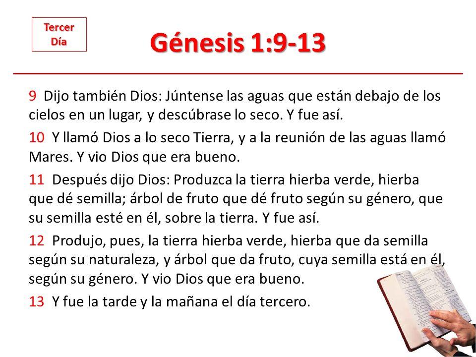 Génesis 1:9-13 9 Dijo también Dios: Júntense las aguas que están debajo de los cielos en un lugar, y descúbrase lo seco. Y fue así. 10 Y llamó Dios a