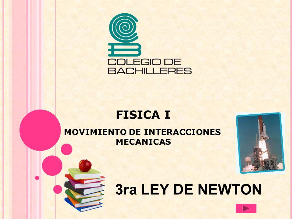 FISICA I MOVIMIENTO DE INTERACCIONES MECANICAS 3ra LEY DE NEWTON