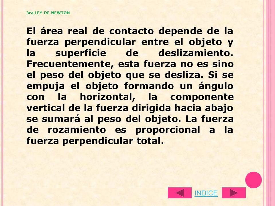 El área real de contacto depende de la fuerza perpendicular entre el objeto y la superficie de deslizamiento. Frecuentemente, esta fuerza no es sino e