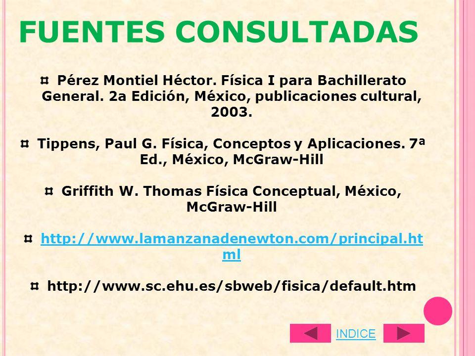 FUENTES CONSULTADAS Pérez Montiel Héctor. Física I para Bachillerato General. 2a Edición, México, publicaciones cultural, 2003. Tippens, Paul G. Físic