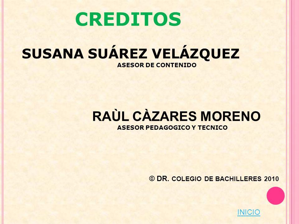 CREDITOS SUSANA SUÁREZ VELÁZQUEZ ASESOR DE CONTENIDO RAÙL CÀZARES MORENO ASESOR PEDAGOGICO Y TECNICO © DR. COLEGIO DE BACHILLERES 2010 INICIO