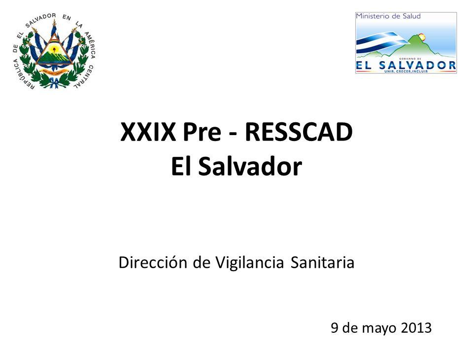 XXIX Pre - RESSCAD El Salvador Dirección de Vigilancia Sanitaria 9 de mayo 2013