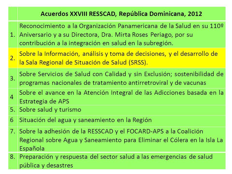 Acuerdos XXVIII RESSCAD, República Dominicana, 2012 Información estratégica y/o comentario 2.1Realizar el ASIS regional, con la participación de los países a través de foros subregionales para el debate, utilizando metodologías validadas y estandarizadas e incorporando la perspectiva de las desigualdades y los determinantes de la salud; aprovechando este proceso para el fortalecimiento de la capacidad de análisis en los equipos nacionales.