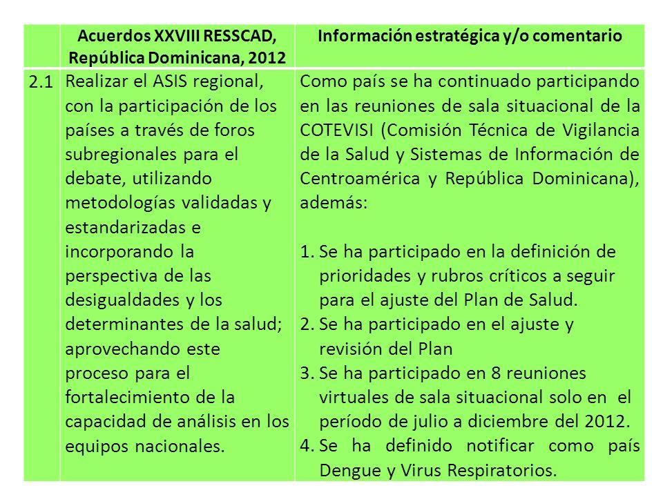 Acuerdos XXVIII RESSCAD, República Dominicana, 2012 Información estratégica y/o comentario 2.2Solicitar el apoyo de la OPS y otros socios, para que en coordinación con la COTEVISI (COMISCA) se realicen talleres regionales con los equipos de los países, para darles a conocer nuevas metodologías, como la carga de enfermedad; para su incorporación en la práctica.