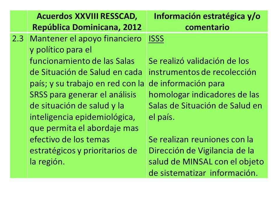 Acuerdos XXVIII RESSCAD, República Dominicana, 2012 Información estratégica y/o comentario 2.4Difundir sistemáticamente los productos generados por la sala regional de situación de salud, para convertirla en un instrumento que favorezca la formulación y evolución de políticas y programas del sector salud; incluyendo su presentación en la RESSCAD.